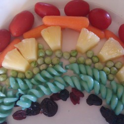 tomatoes, carrots, pinapple, peas, noodles, craisens