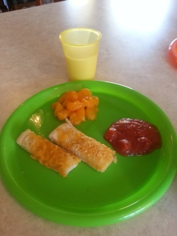 cheese bread, oranges, pizza sauce